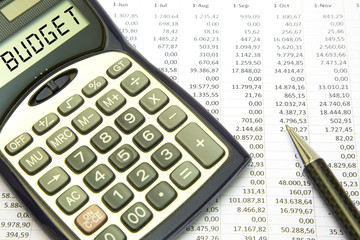 Budget Concept Budget text on calculator