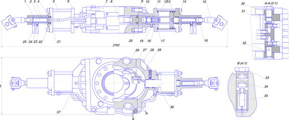 Engineering drawing of industrial equipment
