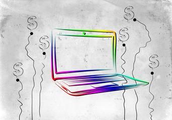 Modern laptop art illustration