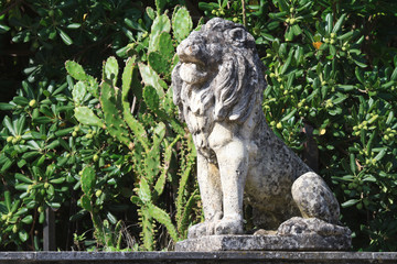 Old stone statue of a lion in the garden