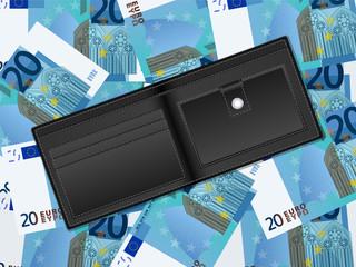 wallet on twenty euro background