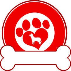Veterinary Red Circle Label Design With Love Paw Dog And Bone