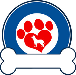 Veterinary Blue Circle Label Design With Love Paw Dog And Bone