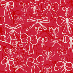 Seamless pattern of hand-drawn bows.