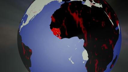 Ebola Virus Spread on Earth 3D Animation