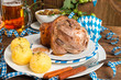 canvas print picture - Schweinshaxe - pork knuckle on Bavarian