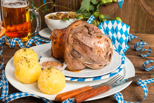 canvas print picture Schweinshaxe - pork knuckle on Bavarian