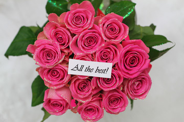 All the best card with pink roses bouquet