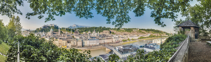 Salzburg skyline as seen from the Kapuzinerkloster viewpoint, Au