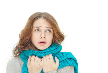 young woman in blue scarf is sick cold