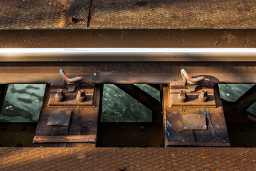 Rail on bridge over water detail