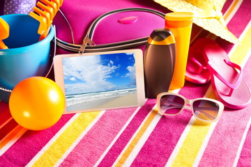 Holiday pictures on tablet