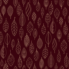 Autumn dark red seamless stylized leaf pattern in doodle style.