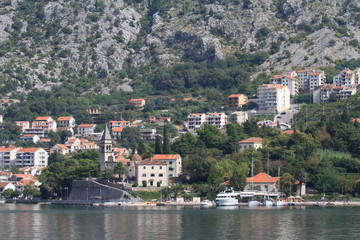 View of the village Dobrota, Kotor Bay, Montenegro