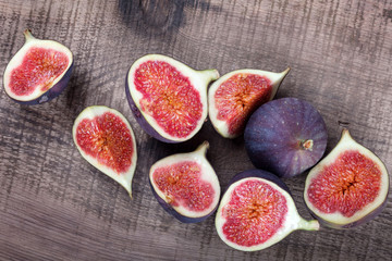 figs on  wooden board