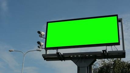 information billboard -road- green screen - security cameras