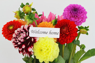Welcome home card with colorful dahlia flowers