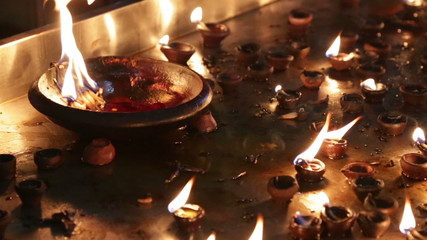 Burning candles in the Indian temple. Diwali – the festival of l