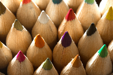 wooden crayons shot in macro mode