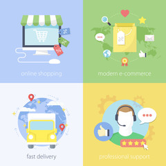 Flat design concept of shopping, e-commerce, delivery, support.