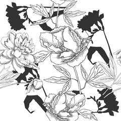 Black and white seamless pattern with flowers-01