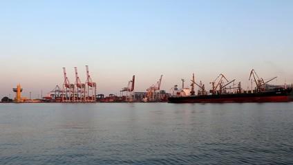 industrial cranes at the sea port