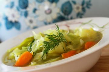 Cabbage soup, closeup
