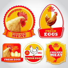 chicken stickers and labels