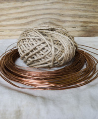 twine and copper wire