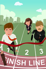 Business people running in competition