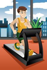 Man running on treadmill