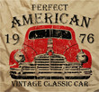 Old American Car Vintage T shirt Graphic Design - 71405224