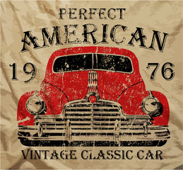 Old American Car Vintage T shirt Graphic Design