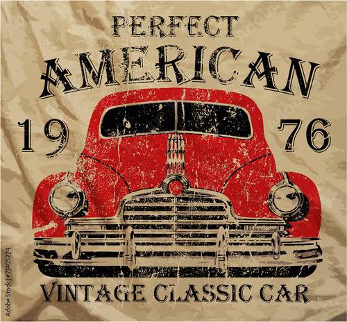 Old American Car Vintage T shirt Graphic Design © emeget