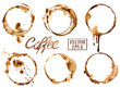 Watercolor coffee stains icons - 71405416