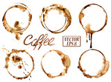 Watercolor coffee stains icons