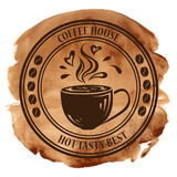 Fototapety Coffee house stamp on a watercolor background