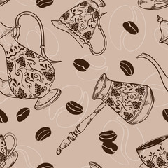 Vintage coffee seamless pattern