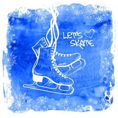 Figure skates on a watercolor background