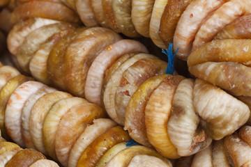 A bunch of dried figs closeup horizontal