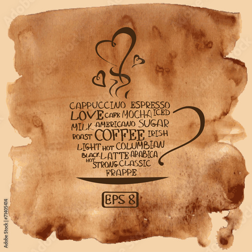 Coffee cup on a watercolor background © Annykos