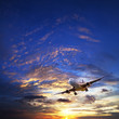 Jet plane in a sunset sky