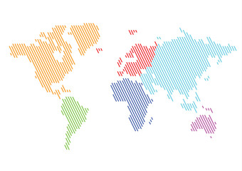 World Continents Color Diagonal Lines