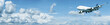 Jumbo jet in a blue cloudy sky