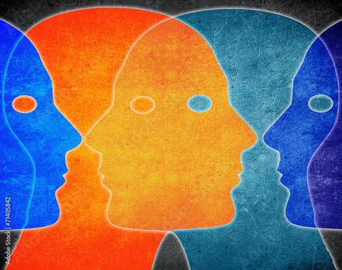 four heads colors digital illustration - 71405842