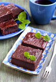 Chocolate and pumpkin brownie slices