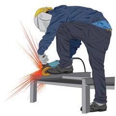 stand grinding worker vector
