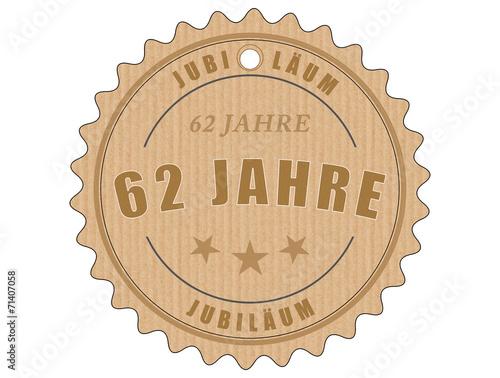 Aluminium Retro je62 JubiläumsEtikett 62 - vintagedesign - 62 Jahre - g1962