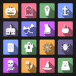 Halloween icons, flat design vector