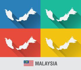 Malaysia world map in flat style with 4 colors.